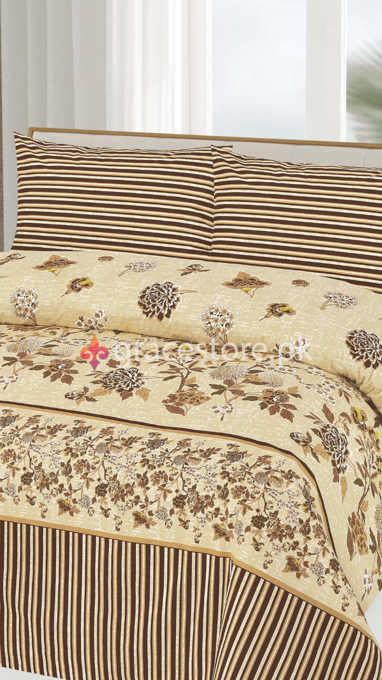 Grace Design 132-Cotton pc king size Bedsheet with 2 pillow covers. - gracestore.pk
