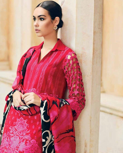 Charizma ps 15-Embroided 3pc khaddar dress with wool shawl. - gracestore.pk