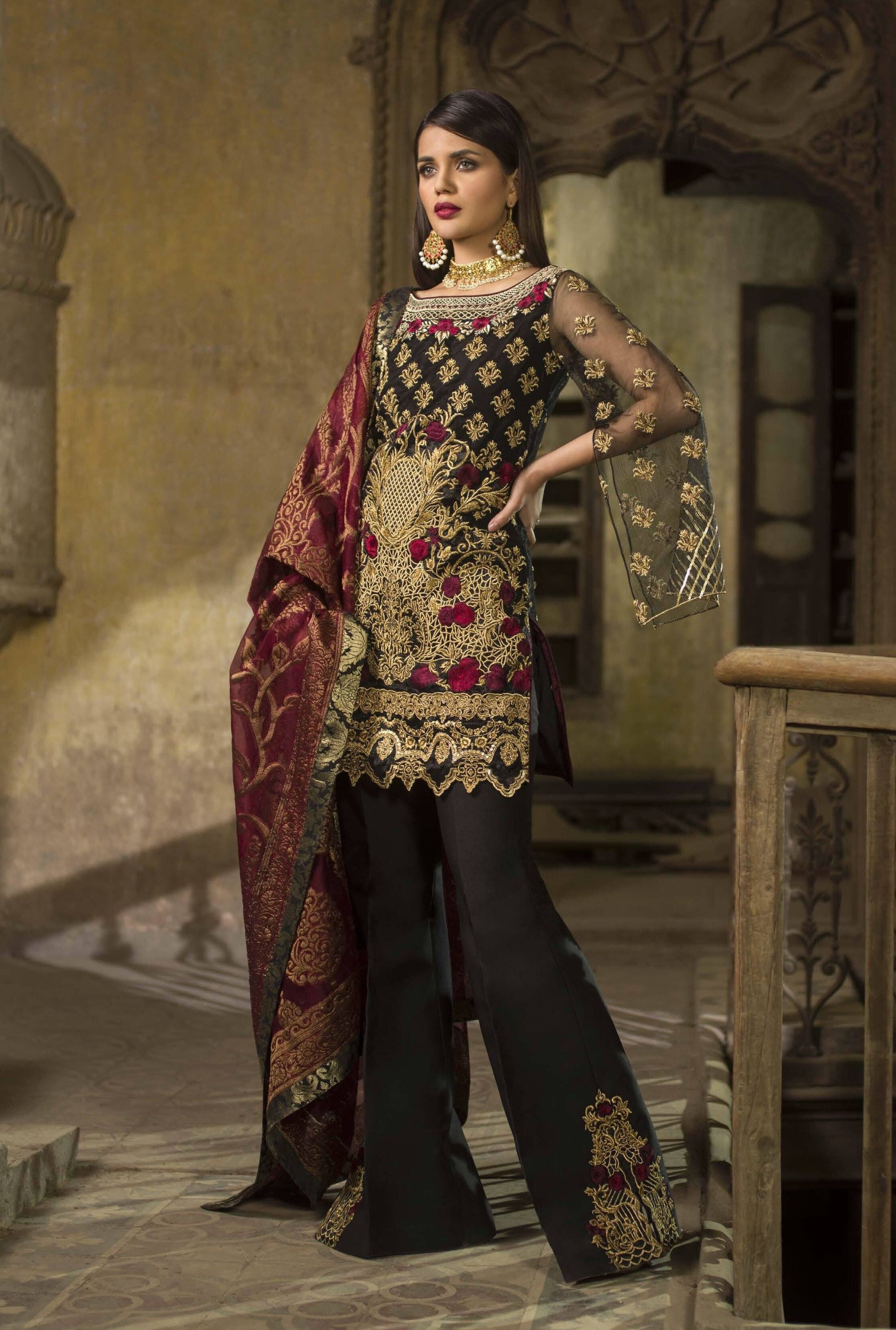 Zainab chottani 06 Black-Heavy Embroided 3pc unstiched pure chiffon dress with embroided banarsi dupatta.