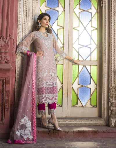 Zainab chottani 03-Heavy Embroided 3pc unstiched pure chiffon dress with embroided chiffon dupatta. - gracestore.pk
