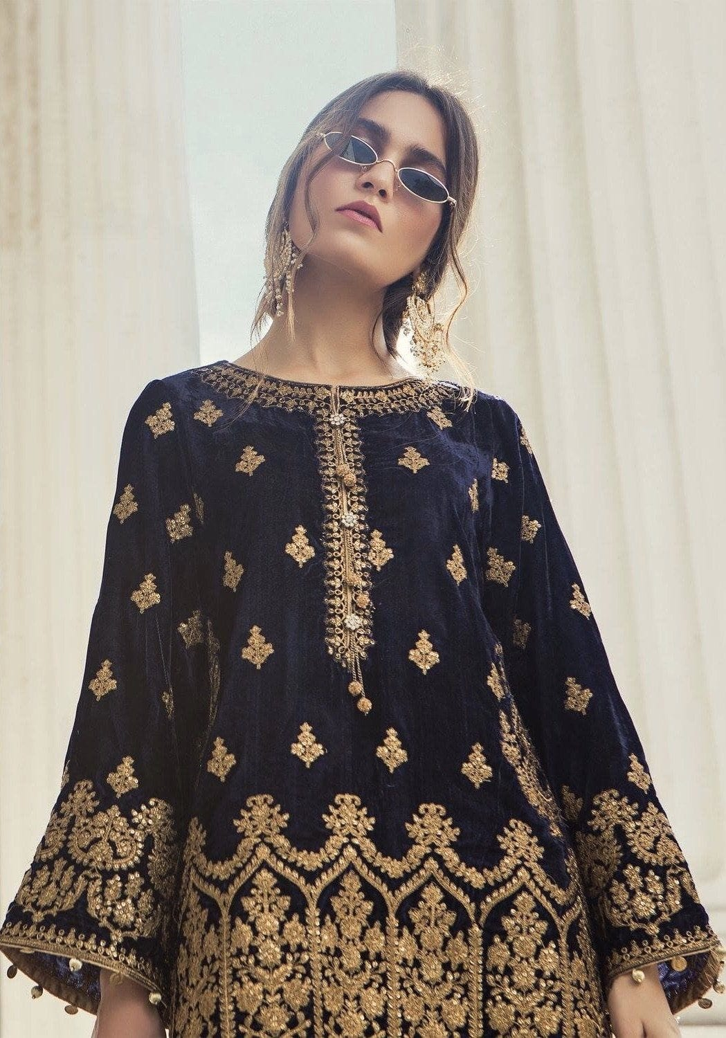 Maria Black-Embroided 2pc velvet dress with jamawar trouser.