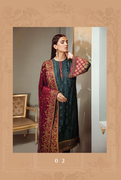 Barooque 15-Heavy Embroided 3pc unstiched pure chiffon dress with embroided chiffon dupatta. - gracestore.pk