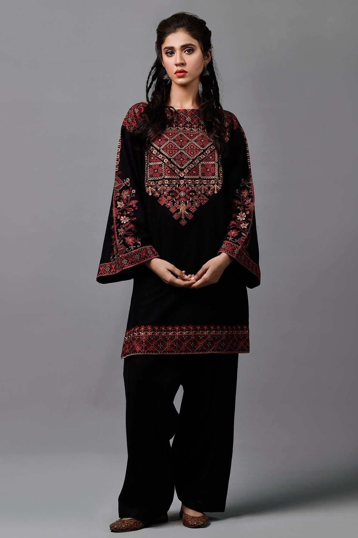 Kayseria Black k-Embroided 2pc khaddar dress shirt & trouser. - gracestore.pk