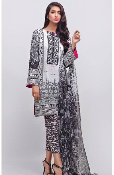 Auj 1839 A-Embroided 3pc lawn dress with chiffon dupatta. - gracestore.pk
