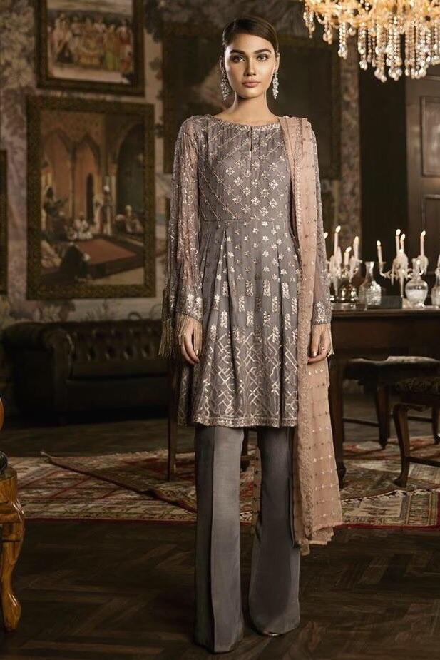 Iznik 40-Heavy Embroided 3pc unstiched pure chiffon dress with embroided chiffon dupatta. - gracestore.pk