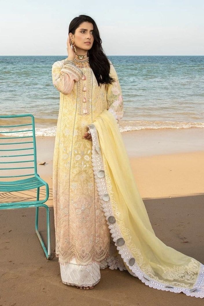 Noor 1A - Embroidered 3pc Lawn Dress With printed Chiffon Dupatta.