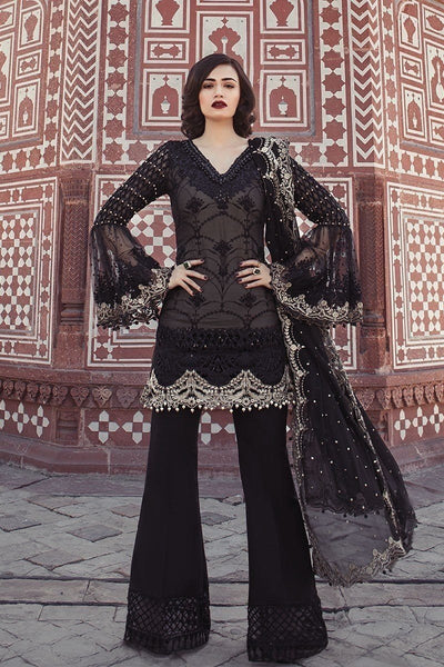 Maria D-02 Black-Heavy Embroided 3pc lawn dress with embroided chiffon sleeves & dupatta. - gracestore.pk