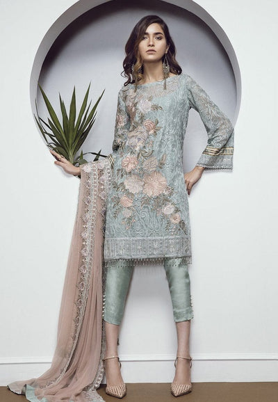 Baroque 02 chantlle-Heavy Embroided 3pc unstiched chiffon dress with embroided chiffon dupatta. - gracestore.pk