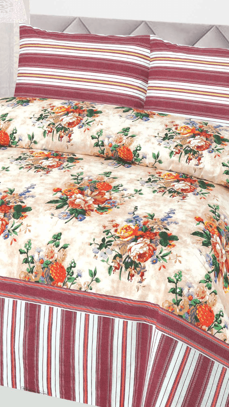 Flower Design 134-Cotton pc king size Bedsheet with 2 pillow covers. - gracestore.pk