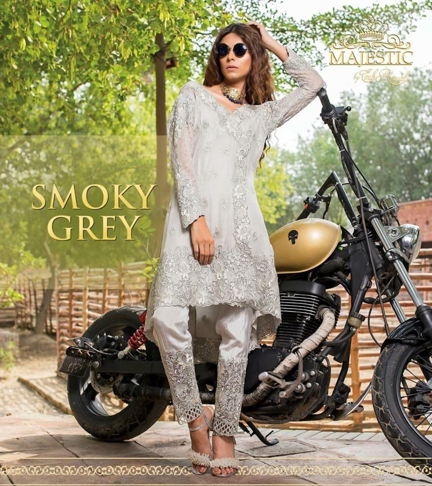 Embroyal smoke grey-Heavy Embroided 3pc unstiched pure bambor chiffon dress with embroided bambor chiffon dupatta. - gracestore.pk