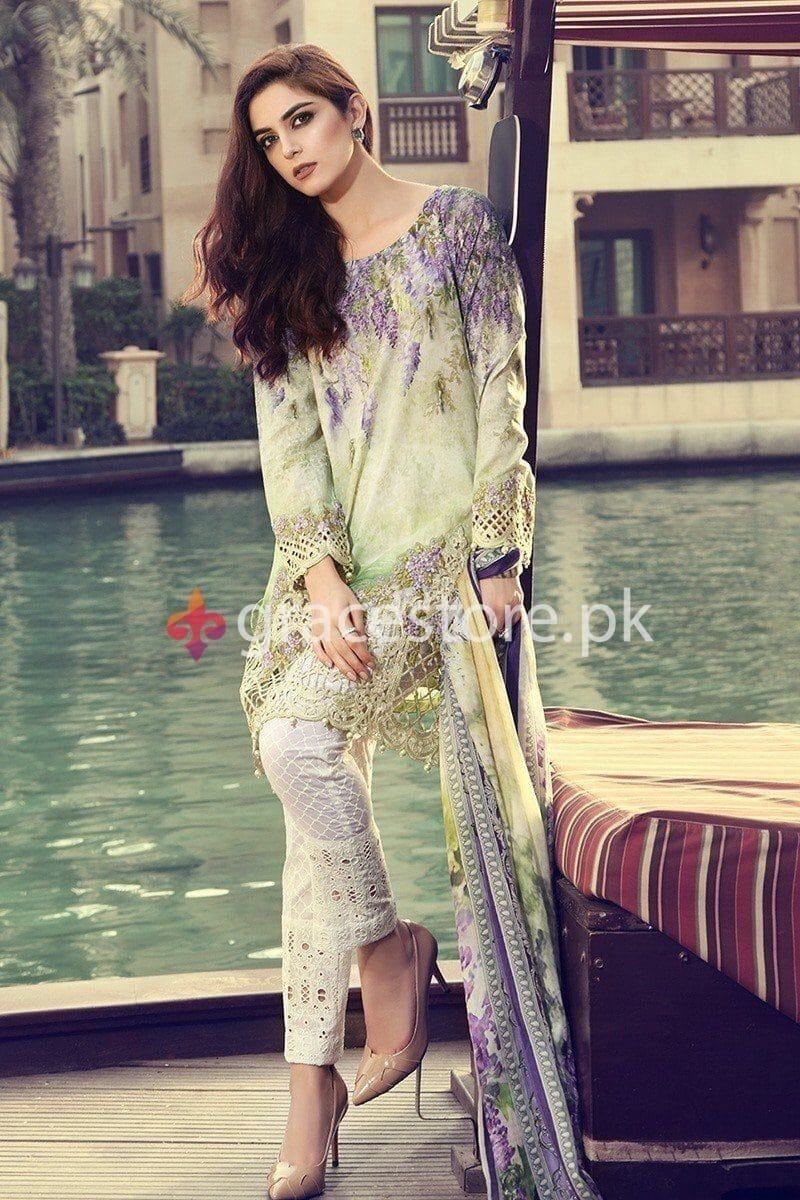 Maria 1842 A-Embroided 3pc linen dress with printed chiffon dupatta. - gracestore.pk