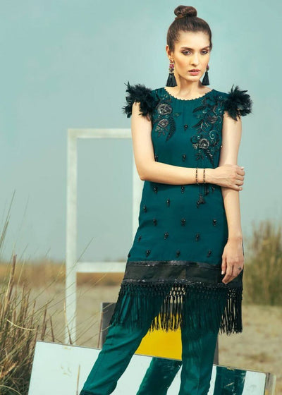 Coir ocean-Heavy Embroided 3pc unstiched pure chiffon dress with embroided chiffon dupatta. - gracestore.pk