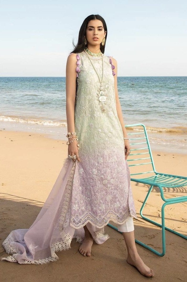Noor 2A - Embroidered 3pc Lawn Dress With printed Chiffon Dupatta.