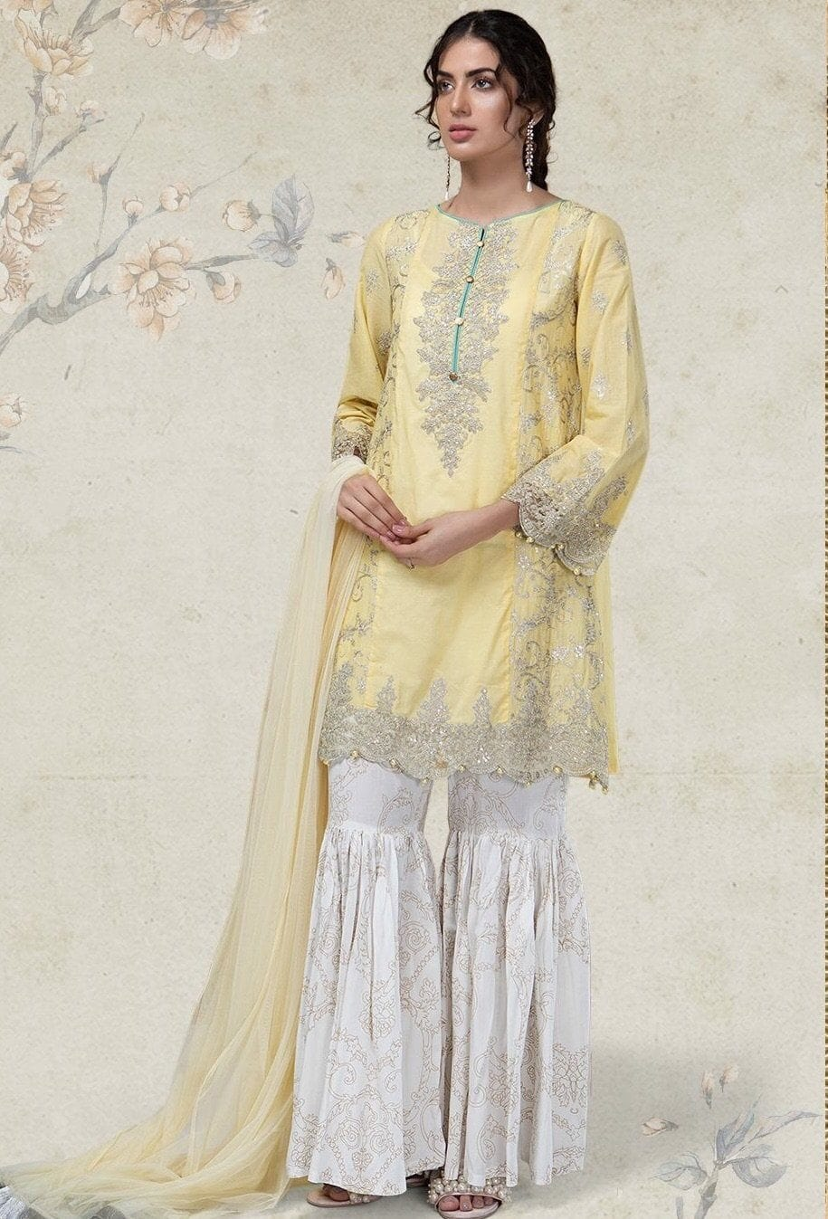 Maria 1831 A-Embroided 3pc linen dress with printed shawl. - gracestore.pk