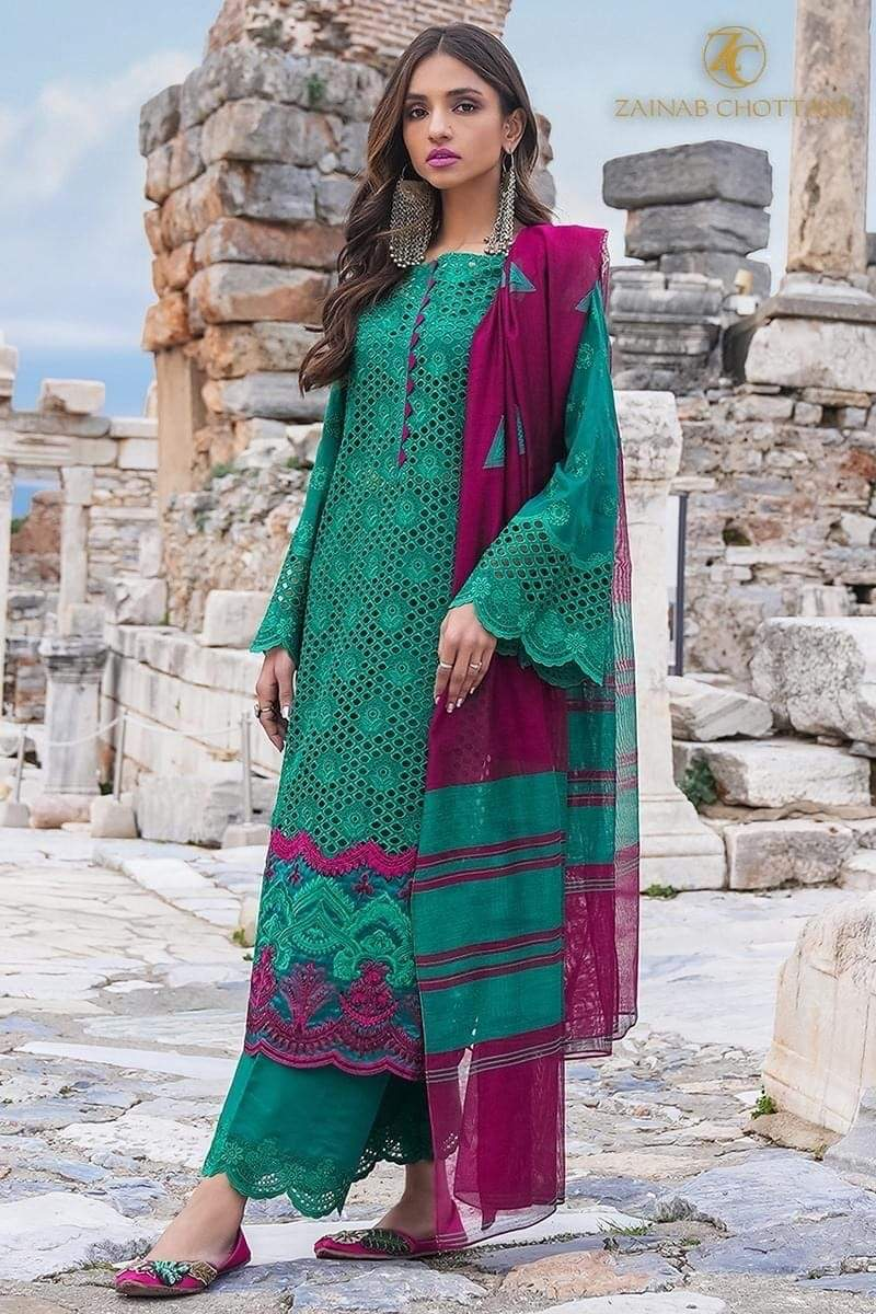 Zainab G1 - Embroidered 3pc Lawn Dress With printed Organza Dupatta.