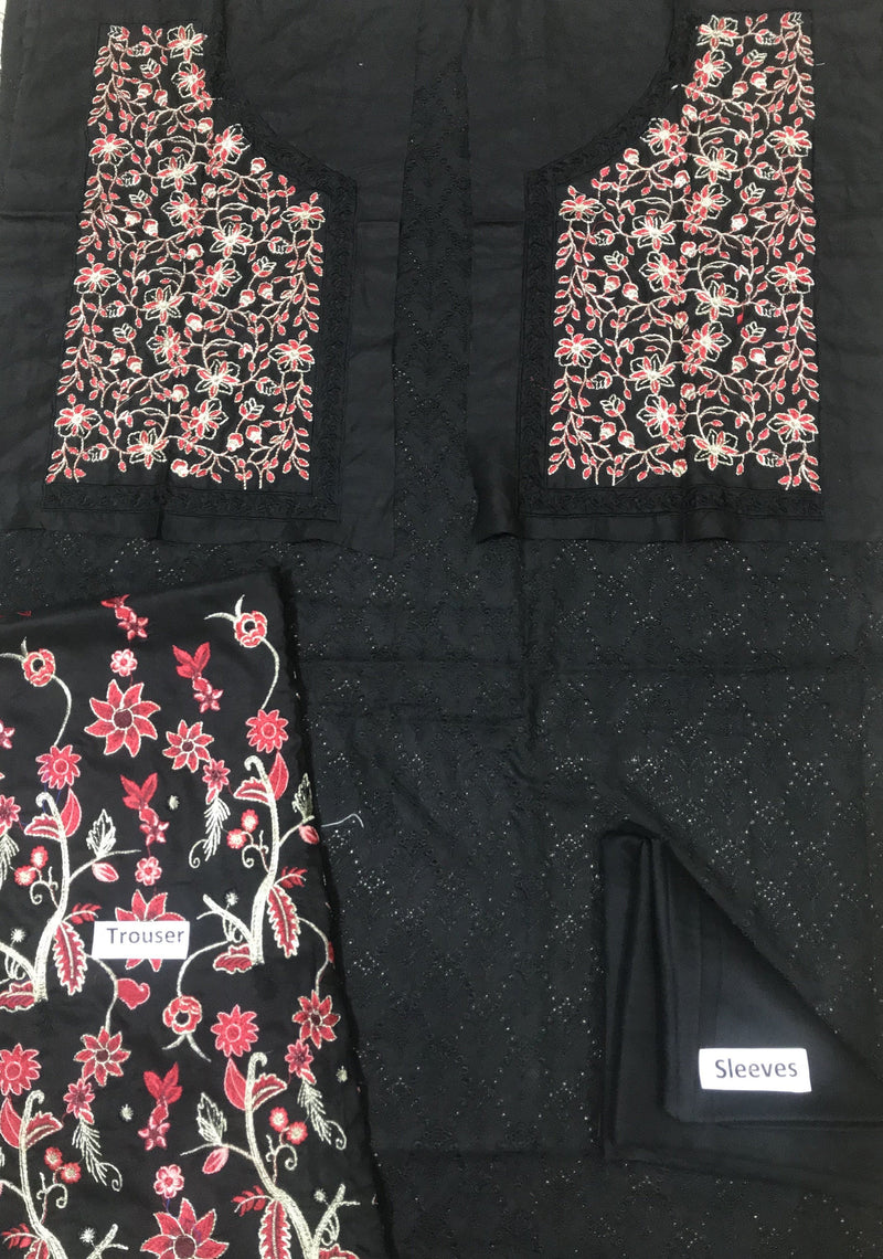 ZC black-Embroided 2pc linen dress shirt & trouser. - gracestore.pk