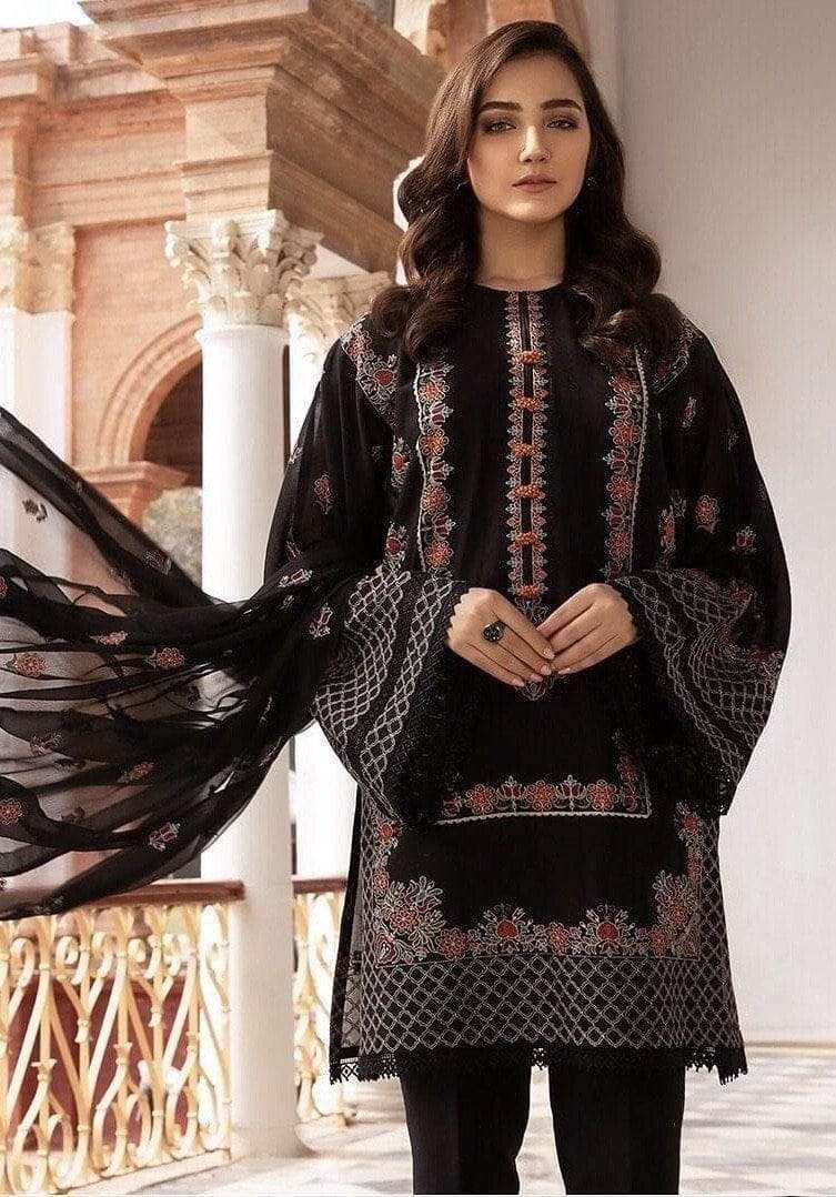 Bareeze black 17006-Embroided 3pc lawn dress with embroided chiffon dupatta. - gracestore.pk