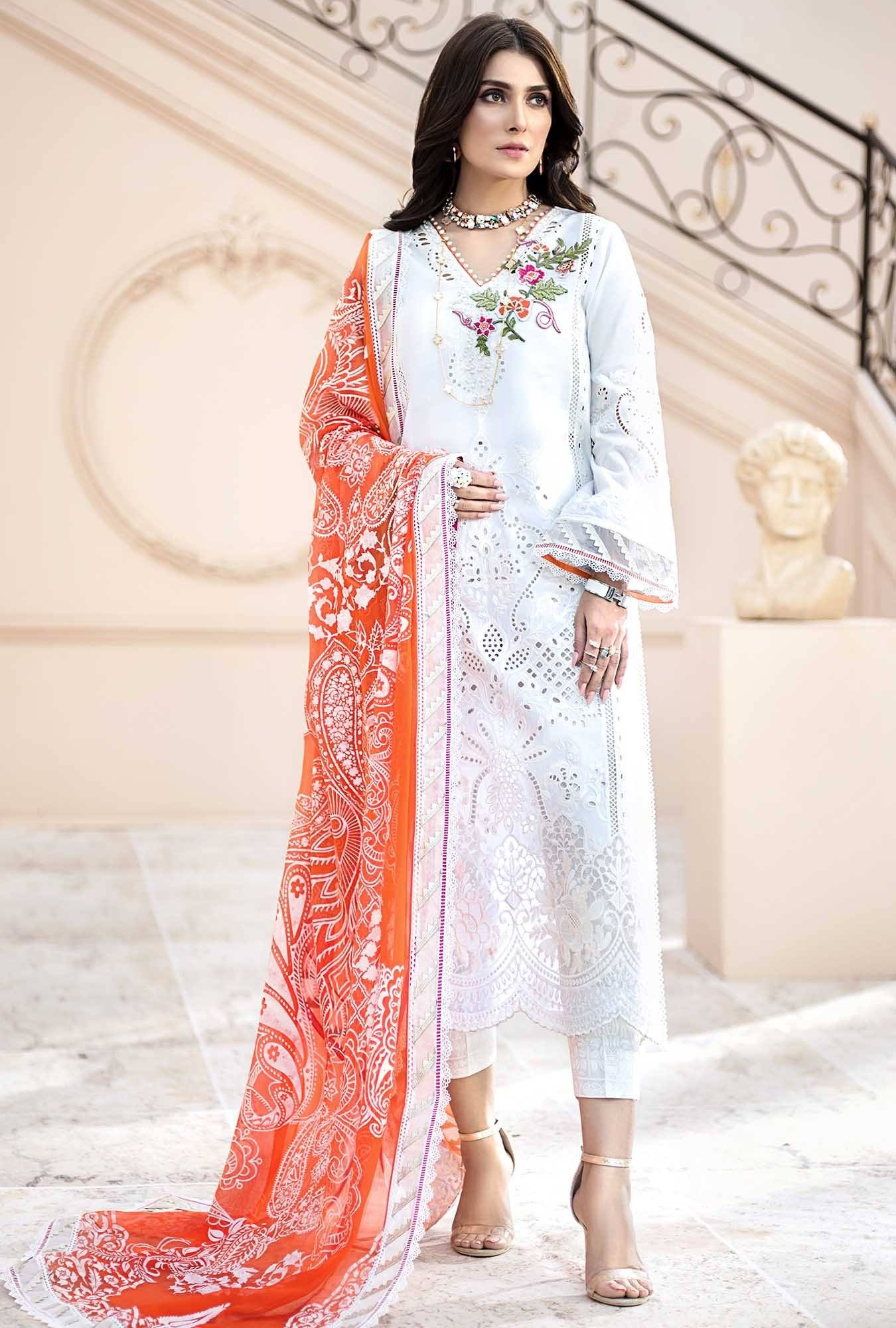 Noor white (Pre-booking)-Embroidered 3pc lawn chicken kari dress with printed chiffon dupatta. - gracestore.pk