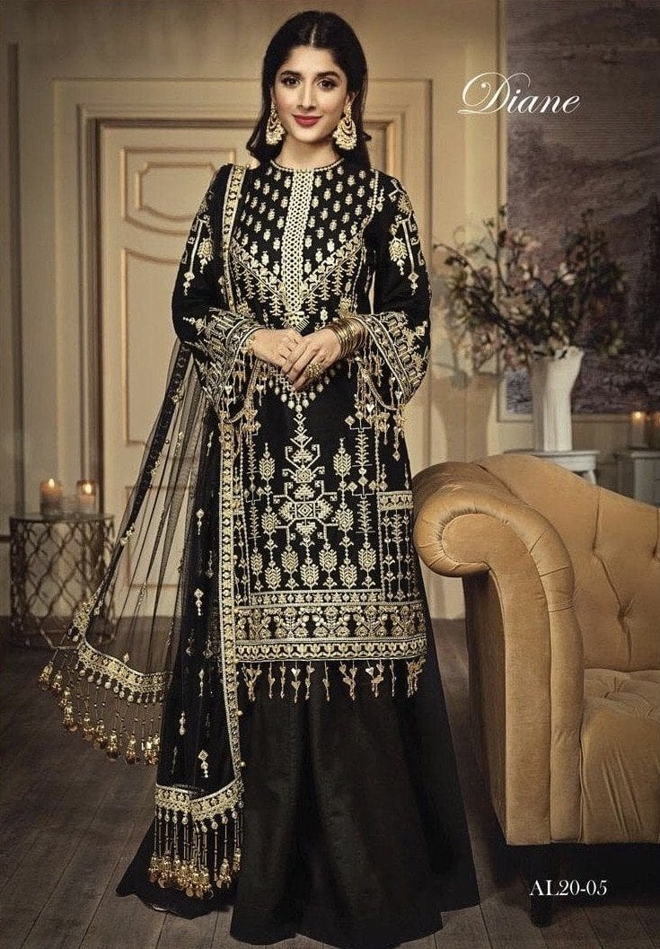 Anaya Black-Heavy Embroidered 3pc lawn dress with embroidered net dupatta. - gracestore.pk