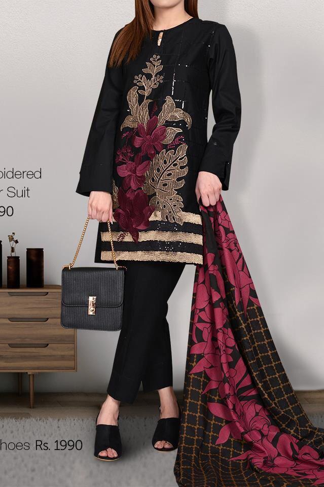Limelight 1833-Embroided 3pc linen dress with printed shawl. - gracestore.pk