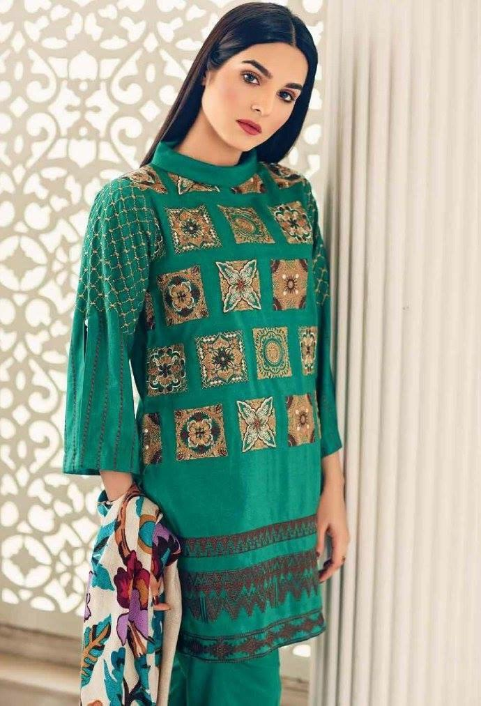 Charizma 1149-Embroided 3pc khaddar dress with wool shawl. - gracestore.pk