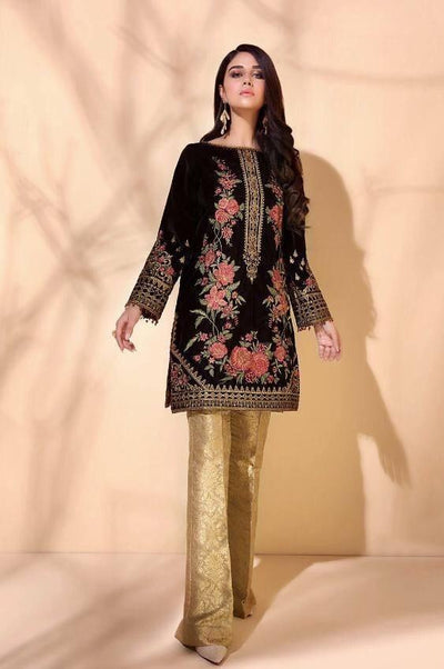Barooque 07-Embroided 2pc velvet dress with jamawar trouser.