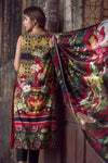 Asifa & Nabeel Flower-Embroided unstiched 3pc linen dress with wool shawl. - gracestore.pk
