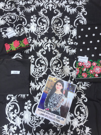 Sanam bloch black-Embroided 2pc lawn dress Shirt & trouser. - gracestore.pk