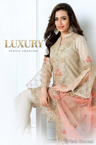 Gul Ahmad 2010-Heavy Embroided 3pc linen dress with embroided chiffon dupatta. - gracestore.pk