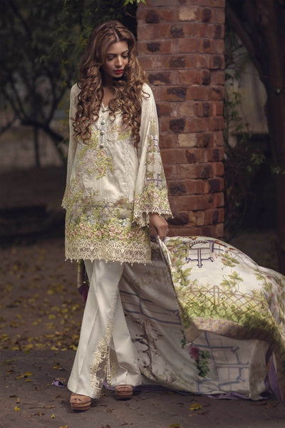 Rungrez 09-Embroided 3pc linen dress with wool shawl. - gracestore.pk
