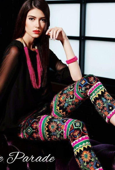 Rang Ja black-Embroided 2pc lawn dress Shirt & trouser. - gracestore.pk