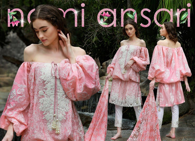 Nomi ansari-Heavy Embroided 3pc linen dress with embroided chiffon dupatta. - gracestore.pk