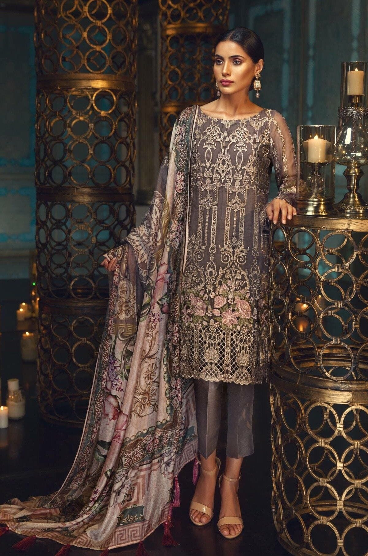 Jazmin 70-Heavy Embroided 3pc unstiched pure chiffon dress with silk dupatta. - gracestore.pk