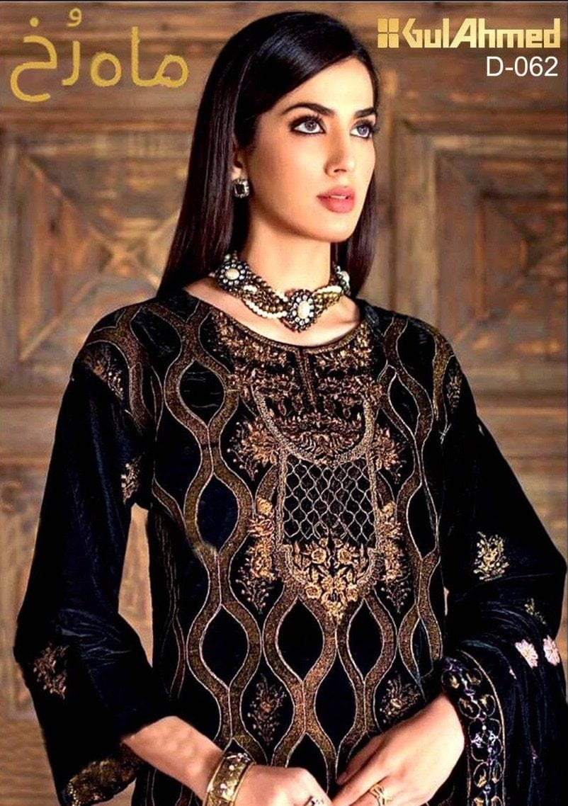 Gul Ahmad 062-Embroided 2pc velvet dress with jamawar trouser. - gracestore.pk