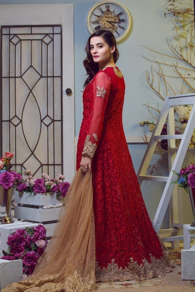 Imrozia Red-Heavy Embroided 2pc unstiched pure chiffon dress with embroided net dupatta. - gracestore.pk