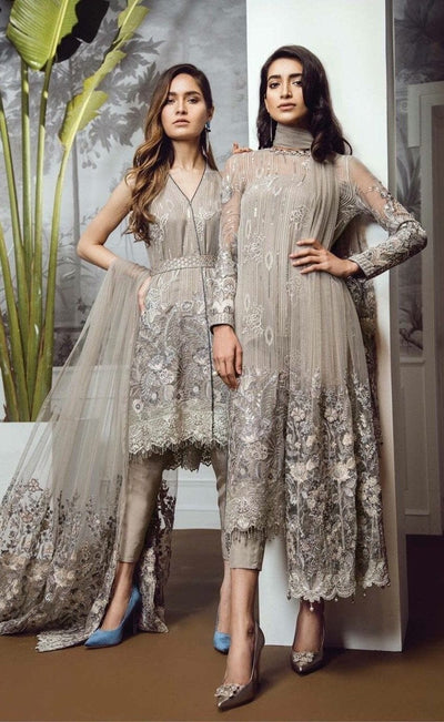 Barooque 21-Embroided 2pc dress chiffon shirt & net dupatta. - gracestore.pk