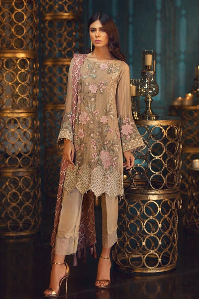 Jazmin 155-Heavy Embroided 3pc unstiched pure chiffon dress with embroided chiffon dupatta. - gracestore.pk