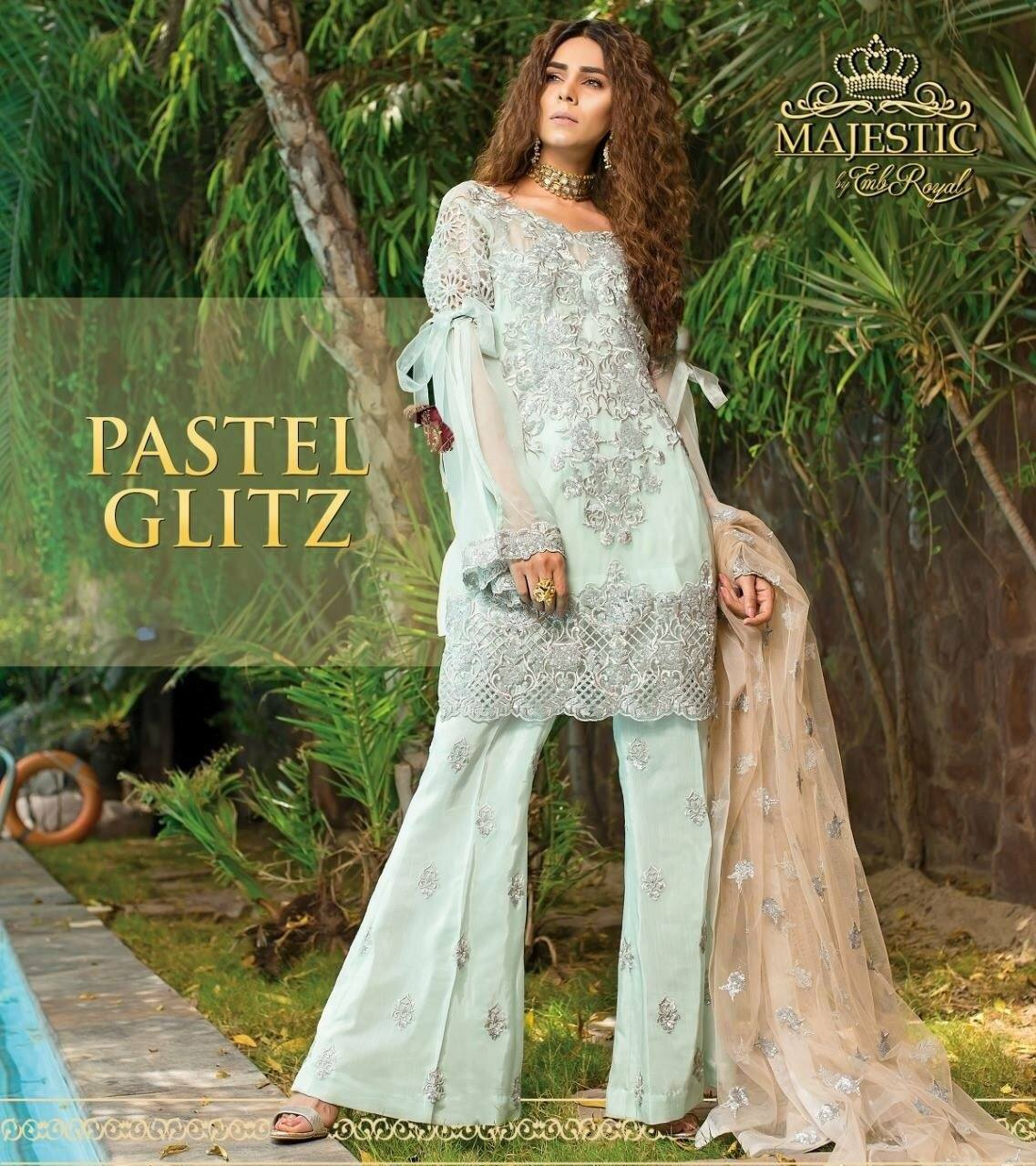 Embroyal pastel glitz-Heavy Embroided 3pc unstiched pure bambor chiffon dress with embroided bambor chiffon dupatta. - gracestore.pk
