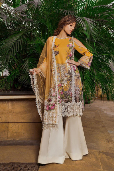 Sobia Nazir 7B-Embroided 3pc lawn  dress with embroided net dupatta. - gracestore.pk