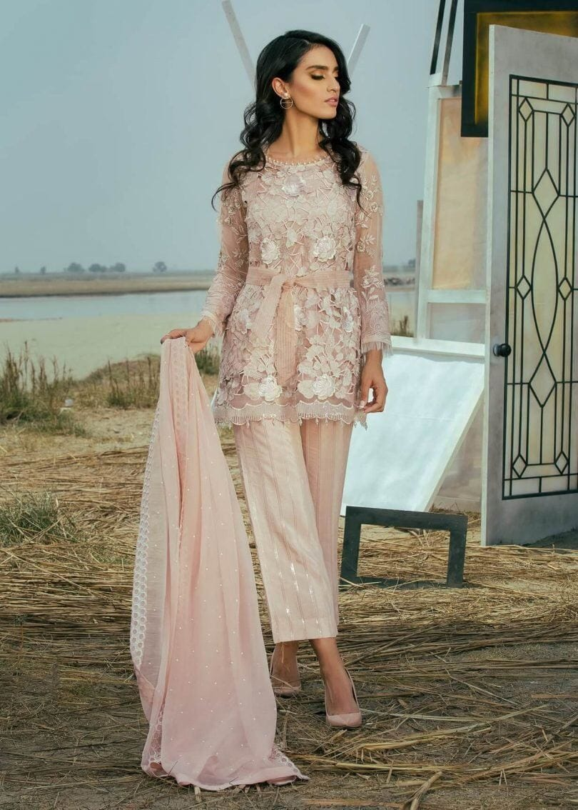 Coir Ocean peach-Heavy Embroided 3pc unstiched pure chiffon dress with embroided chiffon dupatta. - gracestore.pk