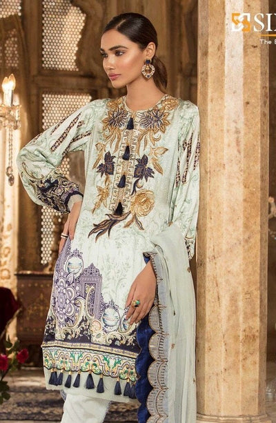 Sifona 18315-Embroided 3pc lawn dress with lawn dupatta. - gracestore.pk