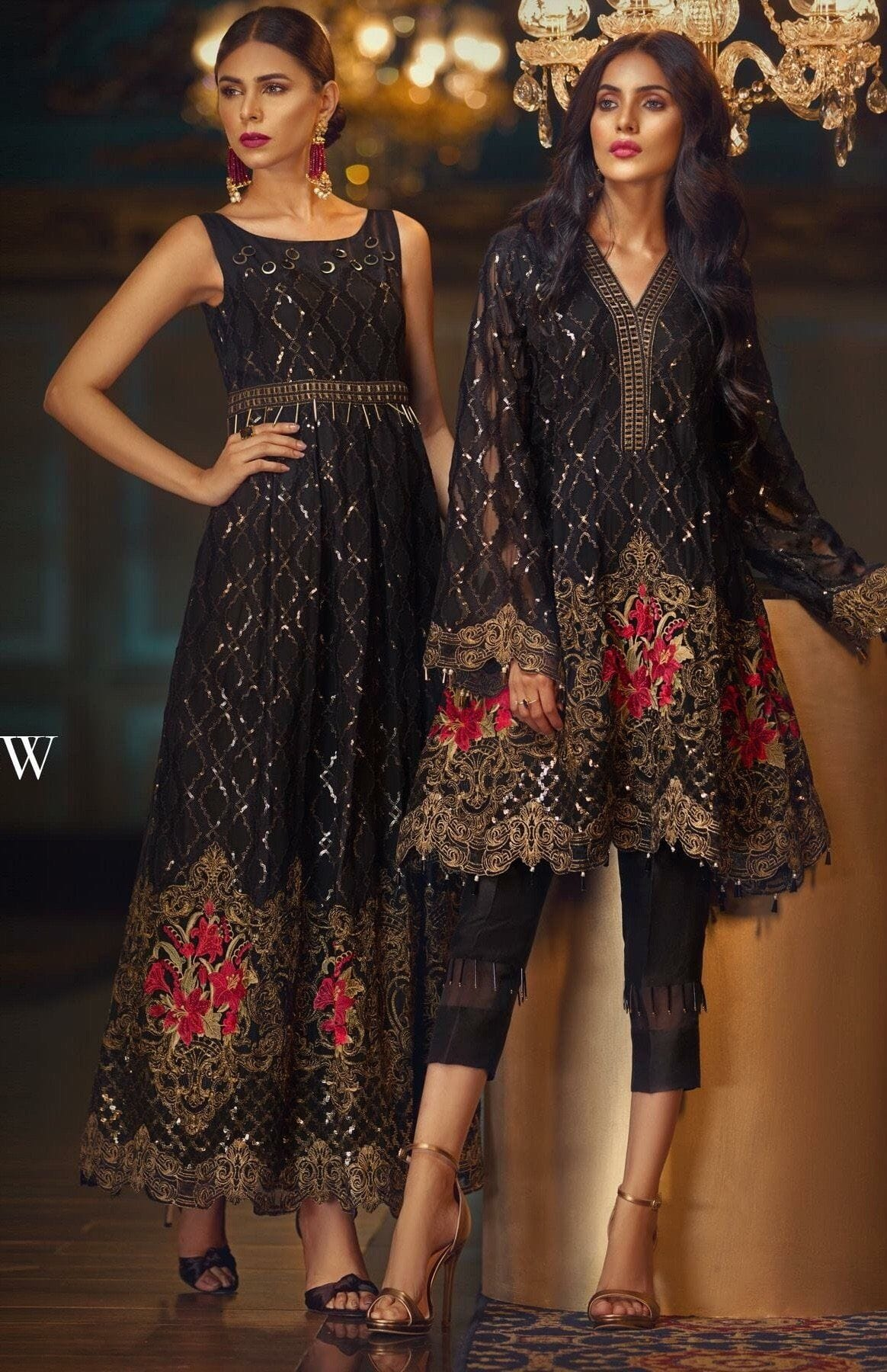 Jazmin Black-Heavy Embroided 3pc unstiched pure chiffon dress with embroided chiffon dupatta. - gracestore.pk