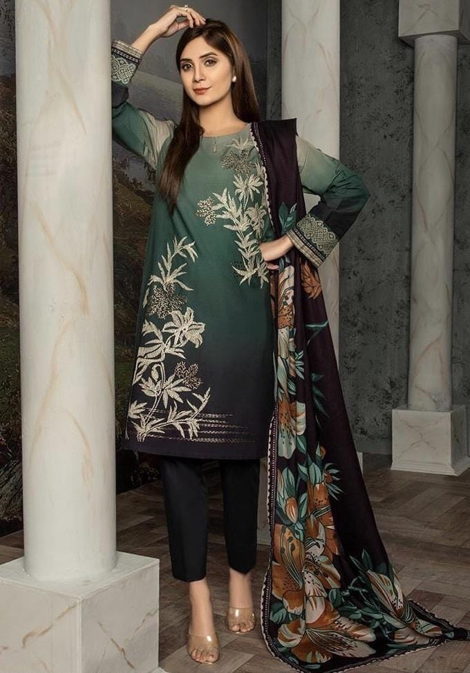 Limelight 18446A-Embroided 3pc linen dress with printed wool shawl.