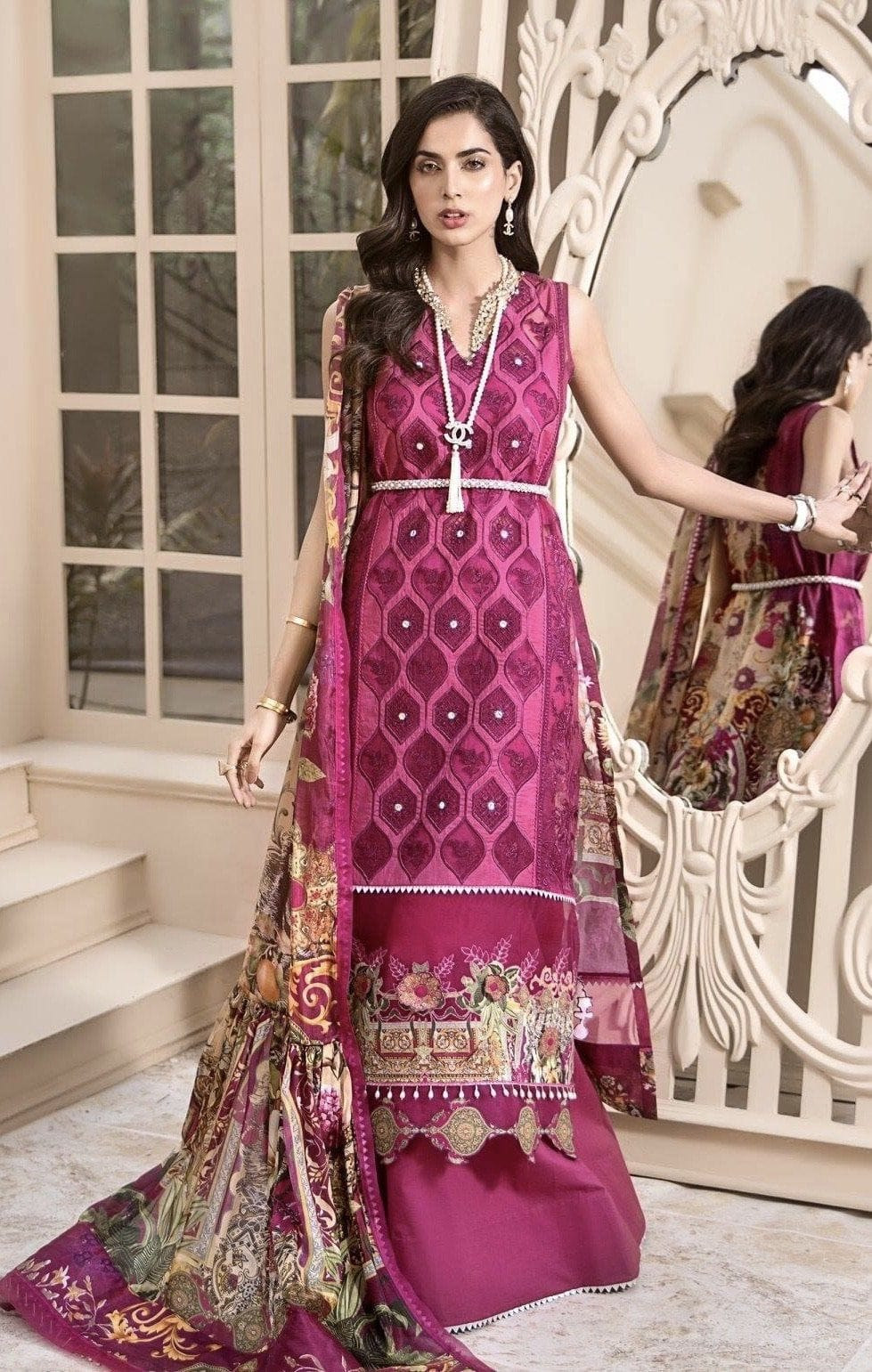 Noor 7B shoking -Heavy Embroidered 3pc lawn dress with printed chiffon dupatta.
