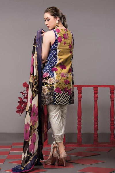 Ethnic 18153 B-Embroided 3pc khaddar dress with wool shawl. - gracestore.pk