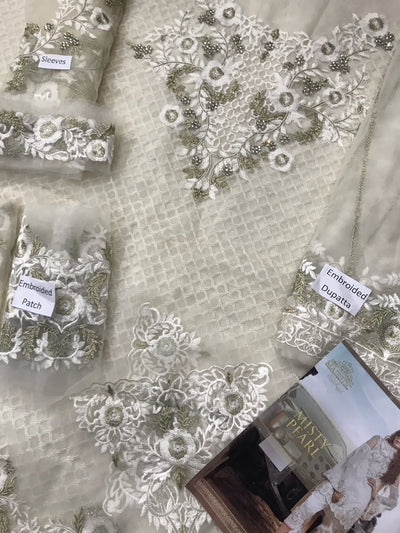 Embroyal misty pearl-Heavy Embroided 3pc unstiched pure bambor chiffon dress with embroided bambor chiffon dupatta. - gracestore.pk