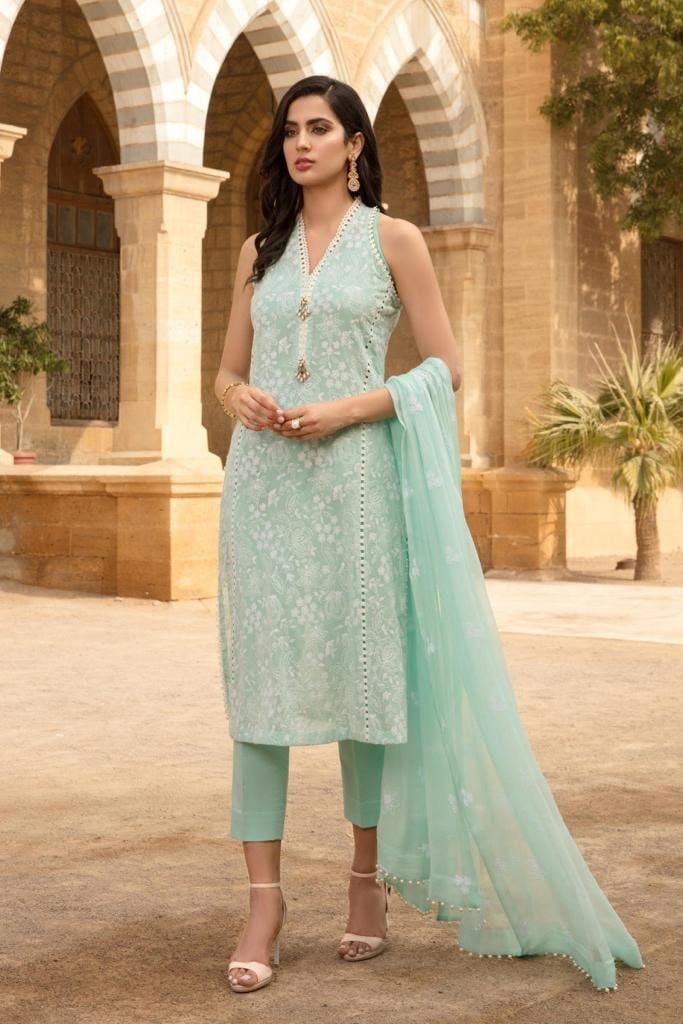 Bareeze 312 -Embroidered 3pc lawn dress with embroidered chiffon dupatta.