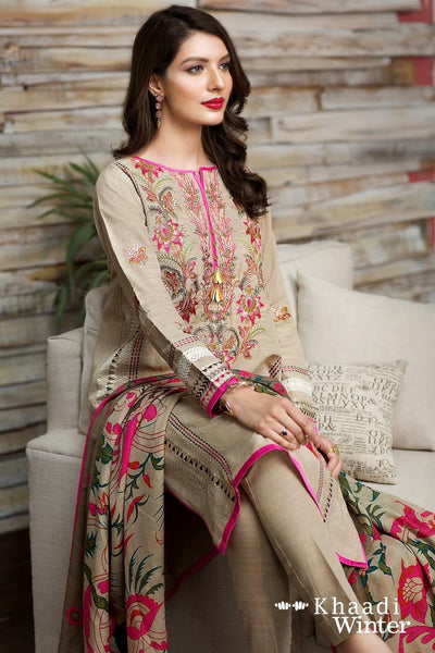 Khaadi Pink-Embroided 3PC khaddar Dress with wool shawl. - gracestore.pk
