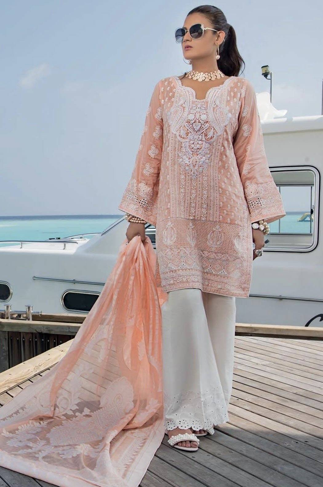 Grace peach-Shifli Heavy Embroided in Laser cutwork 3pc lawn dress with karandi dupatta. - gracestore.pk