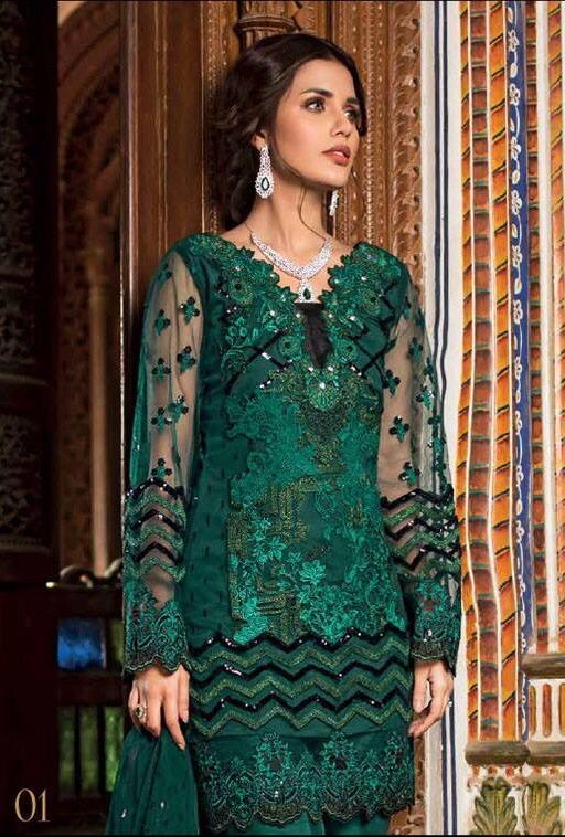 Zainab chottani 01 green-Heavy Embroided 3pc unstiched pure chiffon dress with embroided chiffon dupatta.